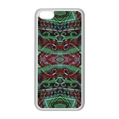 Tribal Ornament Pattern in Red and Green Colors Apple iPhone 5C Seamless Case (White)