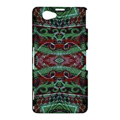 Tribal Ornament Pattern in Red and Green Colors Sony Xperia Z1 Compact Hardshell Case