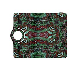 Tribal Ornament Pattern in Red and Green Colors Kindle Fire HDX 8.9  Flip 360 Case