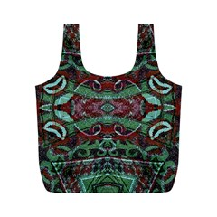 Tribal Ornament Pattern In Red And Green Colors Reusable Bag (m)