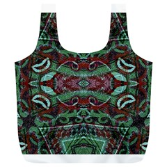 Tribal Ornament Pattern In Red And Green Colors Reusable Bag (xl)