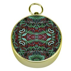 Tribal Ornament Pattern In Red And Green Colors Gold Compass