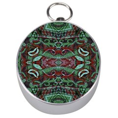 Tribal Ornament Pattern in Red and Green Colors Silver Compass