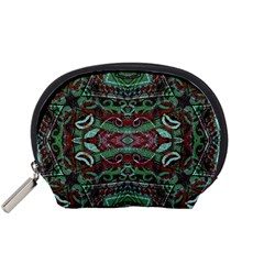 Tribal Ornament Pattern in Red and Green Colors Accessory Pouch (Small)