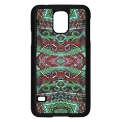 Tribal Ornament Pattern in Red and Green Colors Samsung Galaxy S5 Case (Black)