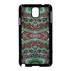 Tribal Ornament Pattern in Red and Green Colors Samsung Galaxy Note 3 Neo Hardshell Case (Black)