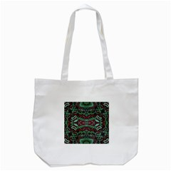 Tribal Ornament Pattern in Red and Green Colors Tote Bag (White)