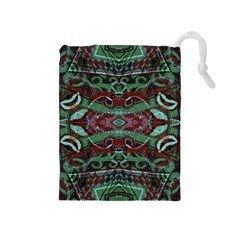 Tribal Ornament Pattern In Red And Green Colors Drawstring Pouch (medium)