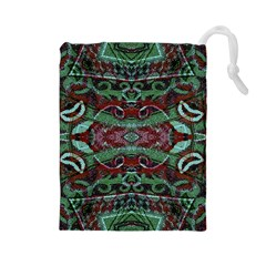 Tribal Ornament Pattern in Red and Green Colors Drawstring Pouch (Large)