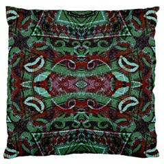 Tribal Ornament Pattern in Red and Green Colors Large Flano Cushion Case (Two Sides)