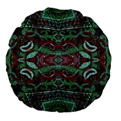 Tribal Ornament Pattern in Red and Green Colors 18  Premium Flano Round Cushion