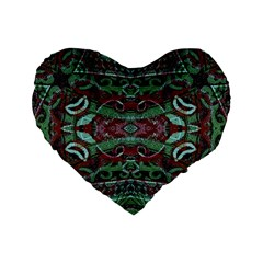 Tribal Ornament Pattern in Red and Green Colors 16  Premium Flano Heart Shape Cushion