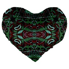 Tribal Ornament Pattern in Red and Green Colors 19  Premium Flano Heart Shape Cushion
