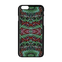 Tribal Ornament Pattern In Red And Green Colors Apple Iphone 6 Black Enamel Case