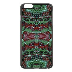 Tribal Ornament Pattern In Red And Green Colors Apple Iphone 6 Plus Black Enamel Case