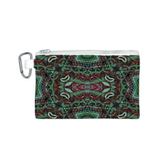 Tribal Ornament Pattern in Red and Green Colors Canvas Cosmetic Bag (Small)
