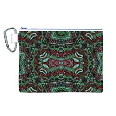 Tribal Ornament Pattern In Red And Green Colors Canvas Cosmetic Bag (large)