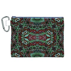Tribal Ornament Pattern in Red and Green Colors Canvas Cosmetic Bag (XL)