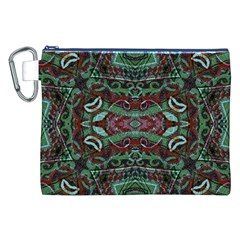 Tribal Ornament Pattern in Red and Green Colors Canvas Cosmetic Bag (XXL)