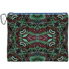 Tribal Ornament Pattern in Red and Green Colors Canvas Cosmetic Bag (XXXL)