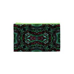 Tribal Ornament Pattern in Red and Green Colors Cosmetic Bag (XS)