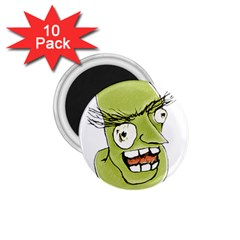 Mad Monster Man with Evil Expression 1.75  Button Magnet (10 pack)