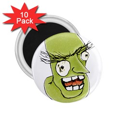 Mad Monster Man With Evil Expression 2 25  Button Magnet (10 Pack)