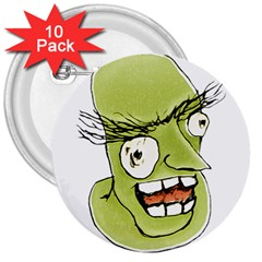 Mad Monster Man With Evil Expression 3  Button (10 Pack)