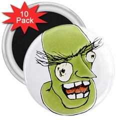 Mad Monster Man With Evil Expression 3  Button Magnet (10 Pack)