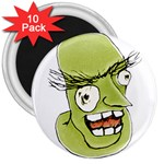 Mad Monster Man with Evil Expression 3  Button Magnet (10 pack) Front