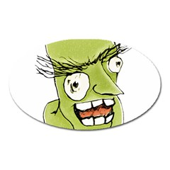 Mad Monster Man With Evil Expression Magnet (oval)