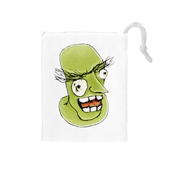 Mad Monster Man With Evil Expression Drawstring Pouch (medium)
