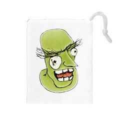 Mad Monster Man With Evil Expression Drawstring Pouch (large)