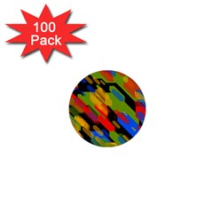 Colorful Shapes On A Black Background 1  Mini Button (100 Pack)