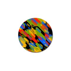 Colorful shapes on a black background Golf Ball Marker