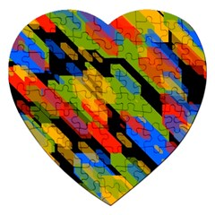 Colorful Shapes On A Black Background Jigsaw Puzzle (heart)
