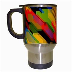 Colorful Shapes On A Black Background Travel Mug (white)