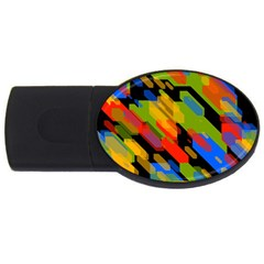 Colorful Shapes On A Black Background Usb Flash Drive Oval (4 Gb)