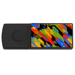 Colorful Shapes On A Black Background Usb Flash Drive Rectangular (4 Gb)