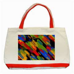 Colorful shapes on a black background Classic Tote Bag (Red)