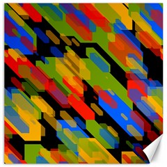 Colorful Shapes On A Black Background Canvas 16  X 16