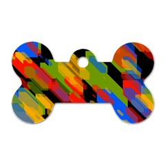 Colorful shapes on a black background Dog Tag Bone (Two Sides)