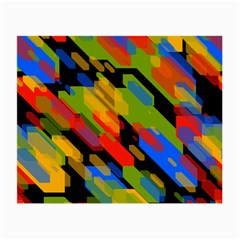 Colorful Shapes On A Black Background Glasses Cloth (small, Two Sides)