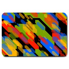 Colorful shapes on a black background Large Doormat