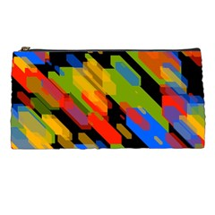 Colorful Shapes On A Black Background Pencil Case