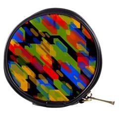 Colorful Shapes On A Black Background Mini Makeup Bag