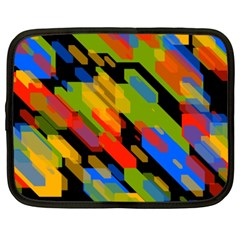 Colorful Shapes On A Black Background Netbook Case (xxl)