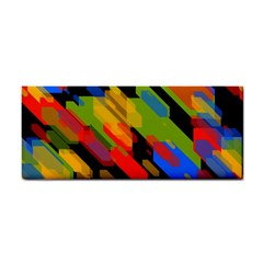 Colorful Shapes On A Black Background Hand Towel