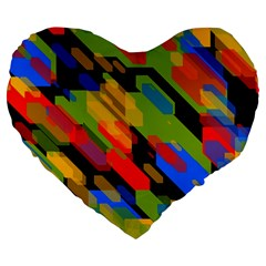Colorful shapes on a black background 19  Premium Heart Shape Cushion