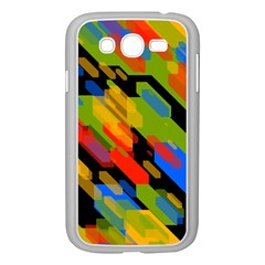 Colorful shapes on a black background Samsung Galaxy Grand DUOS I9082 Case (White)